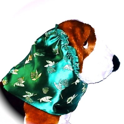 Green Flowers and Leaves Brocade Dog Snood Size Small CLEARANCE