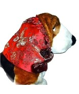 Dog Snood-Red Floral Brocade-Spaniel-Poodle-Setter-Basset Hound-Afghan-S... - $11.50