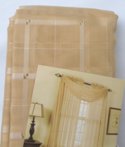Fortune Sheer Window Scarf Valance Gold Tone on Tone  Subtle Plaid Patte... - $14.99