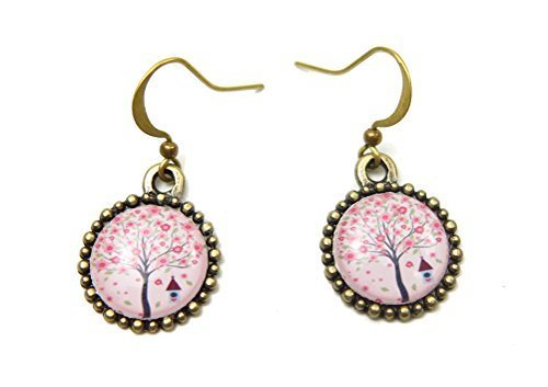 Primary image for Tree of Life Birdhouse Brass Cherry Blossom Resin Dangle Earrings Auralee & C...