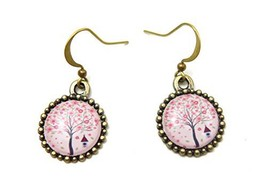 Tree of Life Birdhouse Brass Cherry Blossom Resin Dangle Earrings Aurale... - $19.97