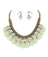 Mint Green Teardrop Clear Acrylic Fashion Statement Necklace Set Wedding... - $21.99