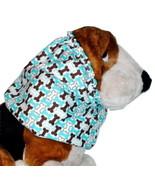 Dog Snood Turquoise Brown Dog Bones Cotton Flannel Basset Spaniel Puppy ... - $10.50