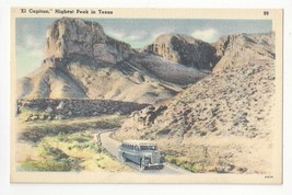 Texas El Capitan Signal & Guadalope Peaks Vintage 1950 Linen Postcard - $4.99