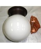 Capital Lighting Fixture Flush Mount W/ White Glass Globe Bronze Base #5... - $13.86
