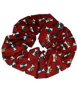 Dog Lovers Hair Scrunchie Red Cotton Holiday Dog Bones Print One Size CL... - $2.25