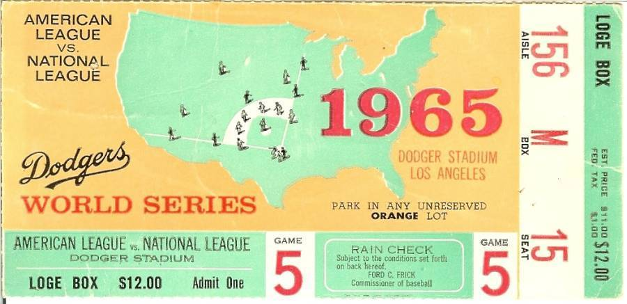 Primary image for dodger ticket stub 1965 world series game 5 sandy koufax wins twins rare