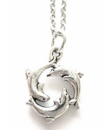 Trio of Dolphins Charm Necklace with Dolphins in a Circle Charm - $20.00