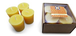 4 Natural Honey Scented 100 Percent  Beeswax Votives, Votive Candles, 12 Hour - £7.06 GBP