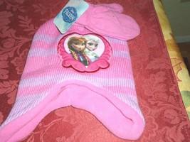 Disney Frozen Anna & Elsa Pink & Purple Hat & Mittens Todder Size 2T-4T New - $9.99