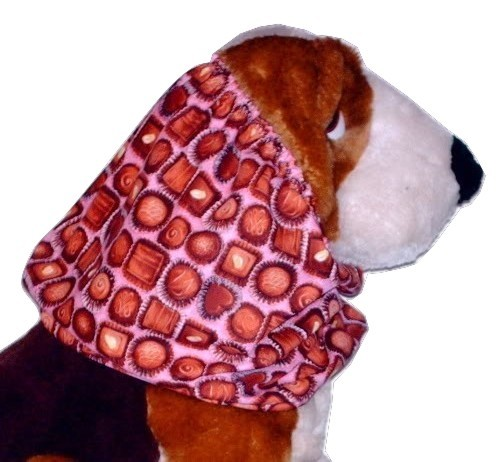 Primary image for Dog Snood Pink Box of Chocolates Cotton Basset Cocker Puppy REGULAR CLEARANCE