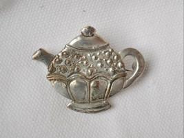 Vintage MEINK sterling silver teapot brooch pin '80s signed tea pot handmade - $17.81
