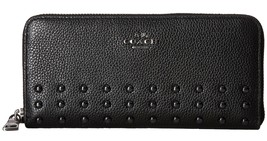 NWT Coach 54054 Black Leather Lacquer Rivets Zi... - $115.60