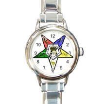 Ladies Round Italian Charm Bracelet Watch Eastern Star OES Order Gift 14... - $11.99