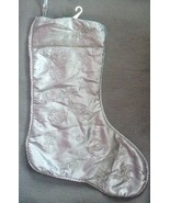 Silver Grey Floral Flourish Embroidered Holiday Christmas Stocking Large  - $9.00
