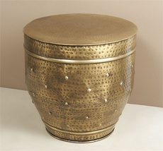 Hammered Antique Brass Dot Stool,19'' x 19''tall. - $525.00