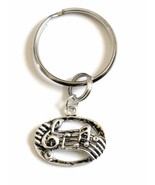 Silver Music Note Charm on a Key Ring for a Musician or Music Lover - $10.50