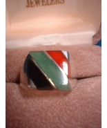 Mens Multi Color Genuine Onyx Ring .925 Sterling NIB - $35.00