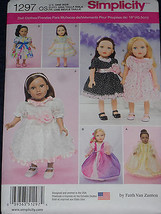 """18"""" Doll Clothes Dress Up  Princess Gown Party Simplicity 1297 Sewing Pa... - $8.99"""