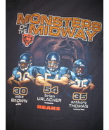Chicago Bears Black T-Shirt Large Monsters of Midway Urlacher Thomas Bro... - $11.75