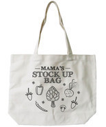Mama's Stock Up Canvas Tote Bag - 100% Cotton Eco Bag, Shopping Bag, Boo... - £12.82 GBP