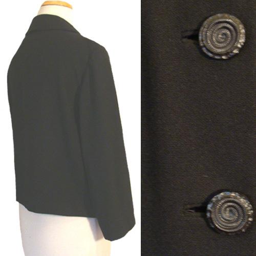 1960s  Vintage Black Jacket Large Buttons