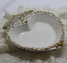 Vintage Gold & White HEART SHAPED Trinket Dish, Nut, Candy Bowl - $9.00