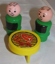 VINTAGE Fisher Price Little People barbecue grill couch chair coffee tab... - $5.94