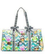 Owl Chevron Stripe Large Quilted Duffel Overnight Bag Grey - $32.99