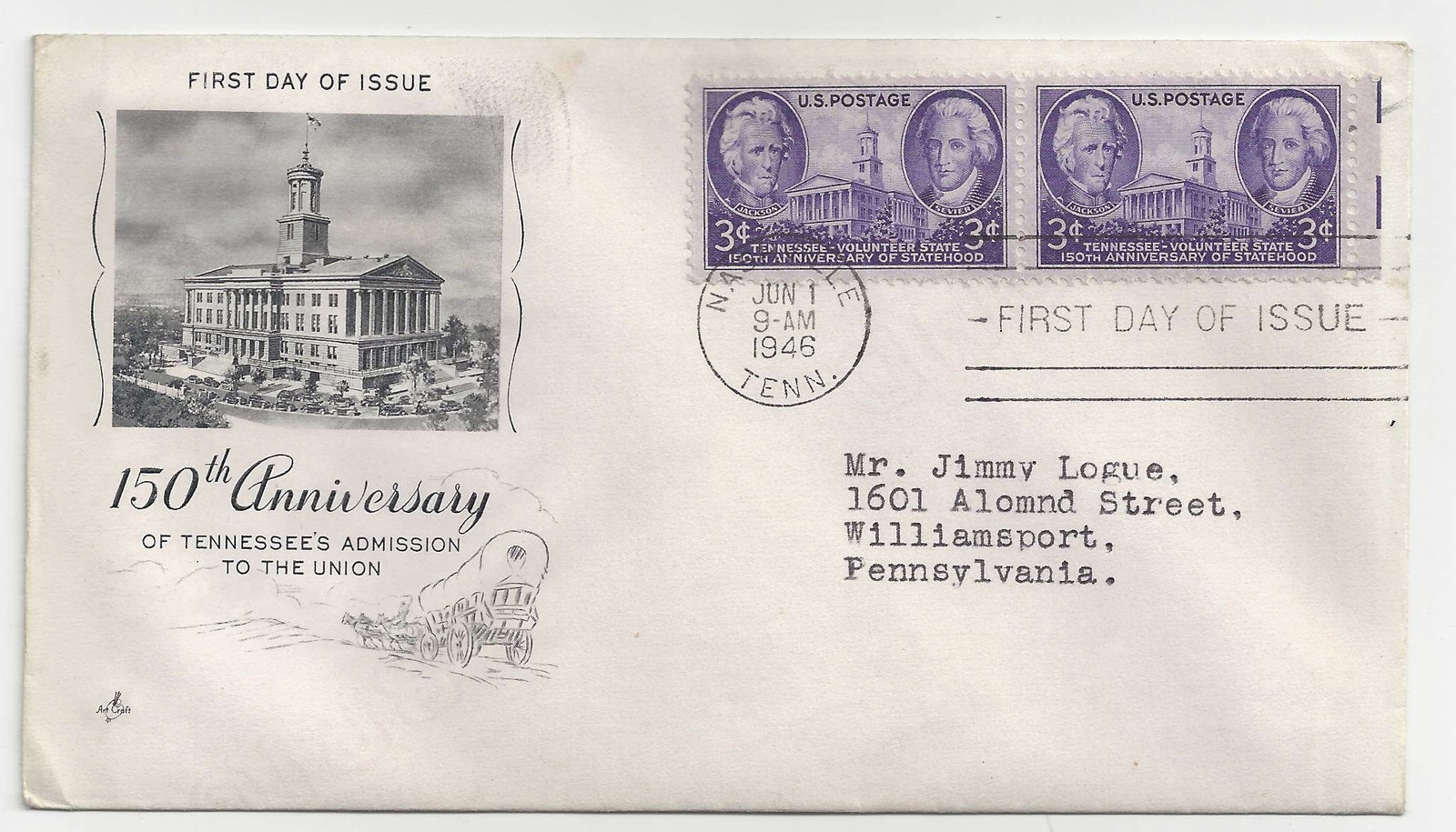 FDC Lot of 3 Sc 941 942 943 Art Craft Cachet First Day Covers Iowa Tennessee