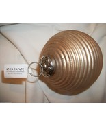 ZODAX BEIGE/GOLD RIBBED GLASS BALL CHRISTMAS ORNAMENT - $8.99