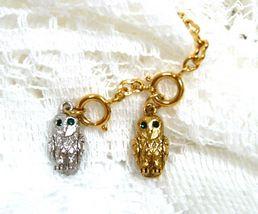 Joan Rivers Noah's Ark Owl Set Green Crystal Eyes Silver Gold Charm Exte... - $60.00