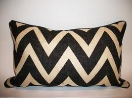 Burlap Chevron Lumbar Pillow Framed With Kravet Suede Welt - $65.00