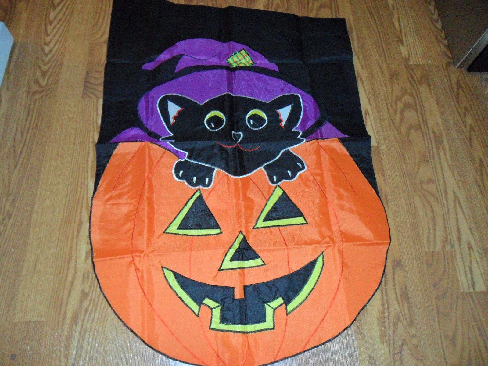 Halloween Black Cat on Pumpkin Garden Flag - $19.99
