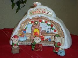 Santa's Village Lighted Christmas Village 2 Sided House w/ Elf Figurines - $29.99