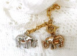 Joan Rivers Noah's Ark Elephant Pink Rose Silver Charms Green Crystal Ey... - $50.00