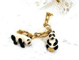 Joan Rivers Noah's Ark Panda Bears Charms Enamel Set Pair Extender Chain... - $60.00