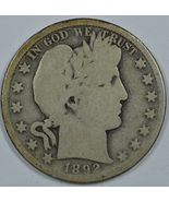 1892 S Barber circulated silver half AG details - $145.00