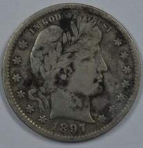 1897 P Barber circulated silver quarter - $25.00