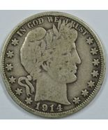 1914 P Barber circulated silver half dollar G/VG details - $165.00