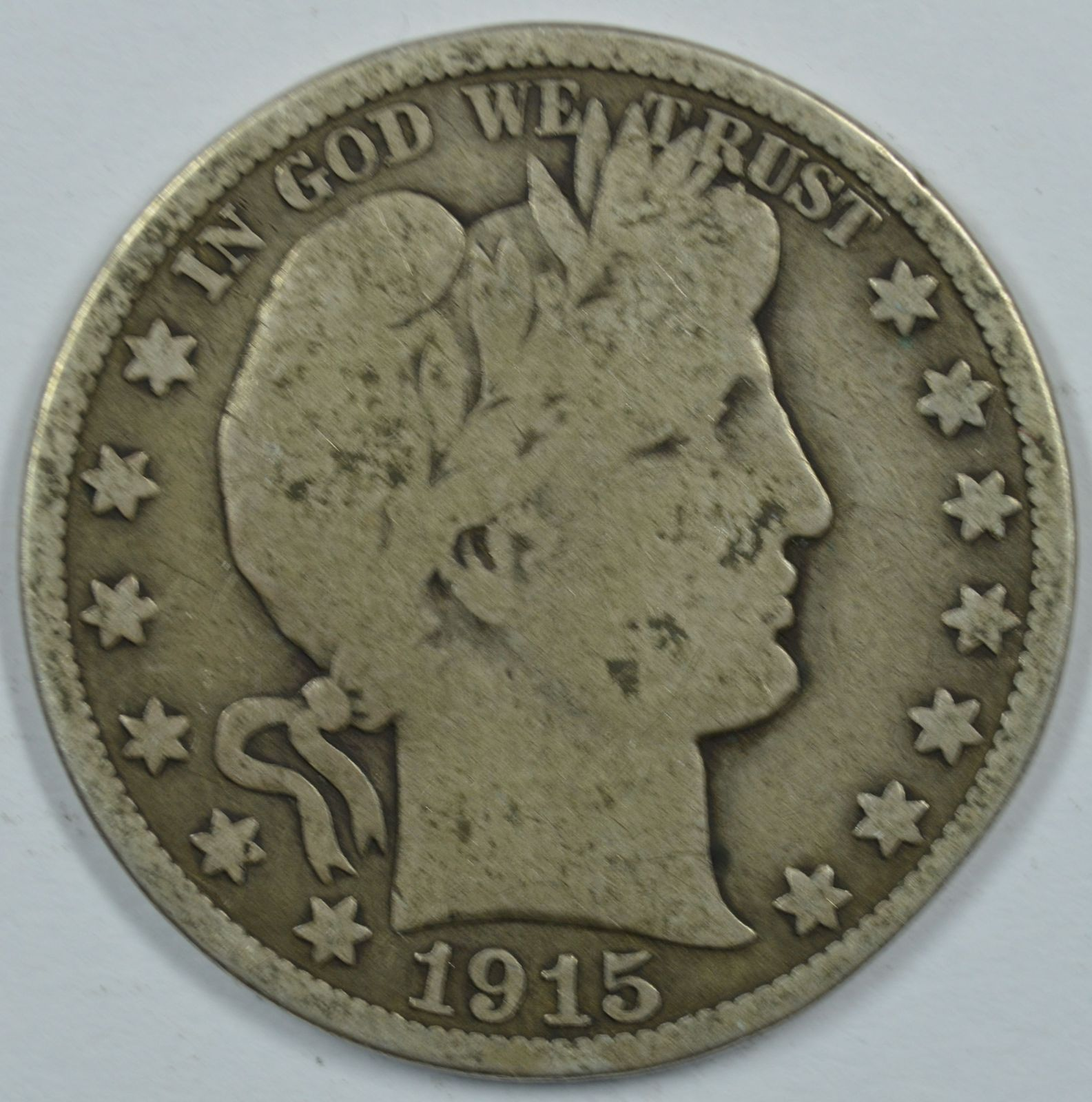 Primary image for 1915 P Barber circulated silver half dollar G details