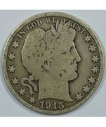 1915 P Barber circulated silver half dollar G details - $120.00