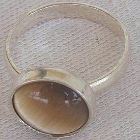 Brown cat eye silver ring c