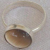 Brown cat eye silver ring c thumb200