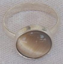 Brown cat eye silver ring c 2 thumb200