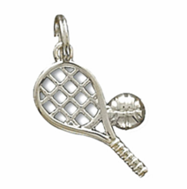 """Small Polished Solid .925 Sterling Silver Racket Ball Charm, 3/8"""" x 3/4"""" - €14,96 EUR"""