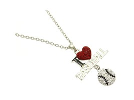 Silvertone Crystal Stone Paved I Love Baseball Necklace - $12.95