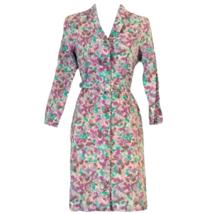 Vintage Floral Dress Midi Belted 70s Purple 1970s Belt Teal Size XS - $54.84
