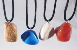 "12 New Large Chunky Semi Precious Stone Necklaces On 30"" Cords #N2047 - $7.69"