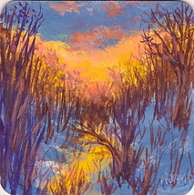 "Winter Daybreak Dawn Sunrise Beach Dunes Original acrylic painting 4"" x 4"" - $14.99"